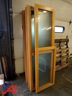 (15) Pc Oak Frame Glass Doors