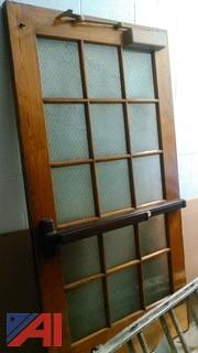 (2) Vintage Frosted Glass Doors