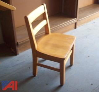 (22) Elementary Wooden Chairs