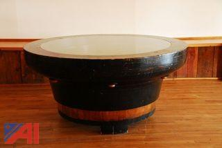 Antique Foundry Round Table with Glass Top
