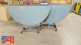 (3) Round Cafeteria Folding Tables