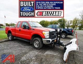 **4% BP** 2016 Ford F250 XL SD Pickup Truck with Plow