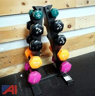 Barbell Stand & (5) Sets of Barbells