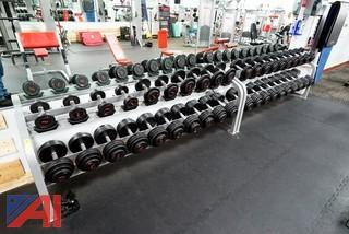 (2) Cybex Twin Tier Dumbbell Racks With (20) Sets of GP Dumbbells