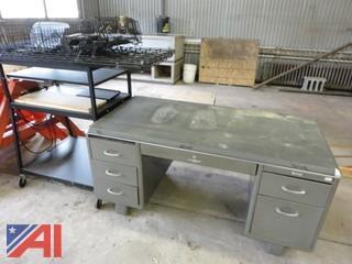 Metal Desk and Rack on Wheels