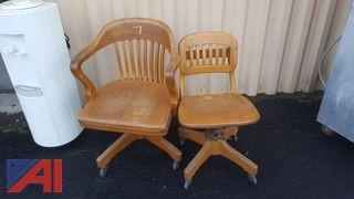 Rolling Wooden Desk Chairs, (2)