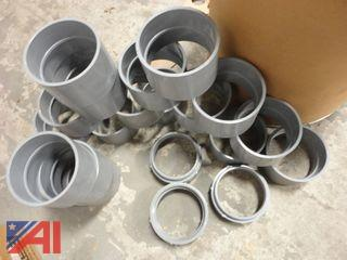 "PVC 6"" Couplings, (17) and PVC Male Adapters, (2)"