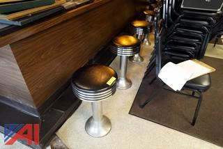 Vintage Ice Cream Parlor Padded Chrome Art Deco Style Stools