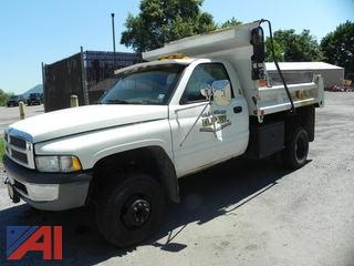1999 Dodge Ram 3500 Pickup with Dump Body and Plow