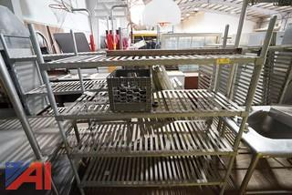Sections of Galvanized Cooler Shelving
