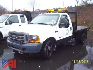 2001 Ford F350 SD XL Flat Bed Truck with Plow