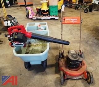 Leaf Blower, Lawn Mower And Wheel Barrel