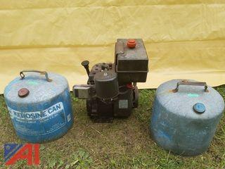 Tesumseh H50 Motor and (2) Five Gallon Metal Cans