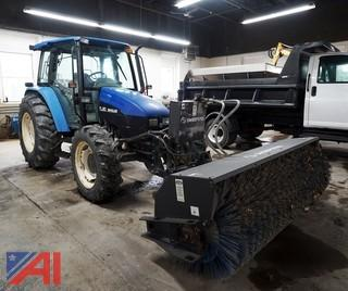 2000 New Holland TL90 4WD Tractor with Broom & Enclosed ROPS