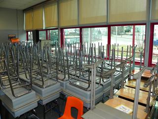 (#4) Large Lot of Student Desks and a Wooden Computer Desk