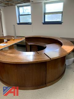 (#11) Large Wood Oval Secretary Desk