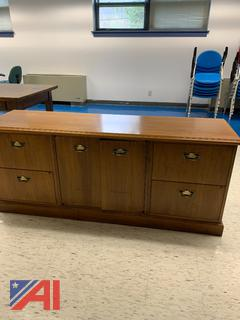 (#13) Wood Credenza and Rolling Cabinet