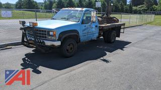 1993 Chevy 3500 Flat Bed Pickup Truck With Plow