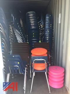 (3297) Storage Pod Filled With Various School Furniture