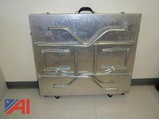 (#35) Folding Stainless Steel Table with Wheels