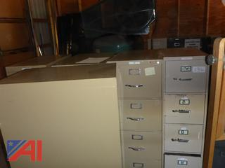 (1630) Metal Four Drawer Office Filing Cabinets