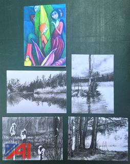 Charcoal & Colored Pencil Drawing Note Cards