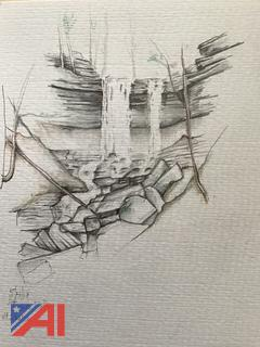 Tinker Falls Pencil Drawing