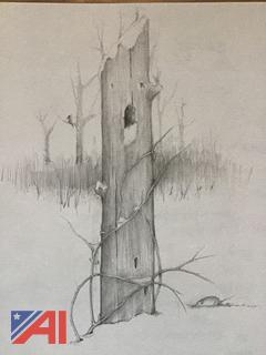 Winter Tree Home Pencil Drawing
