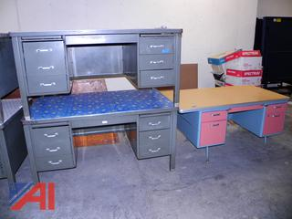 (#9) Metal Desks with Drawers