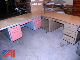 (#11) Metal Desks with Drawers