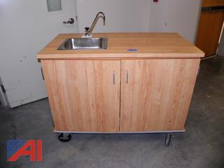 (#16) Portable Table with Sink on Wheels