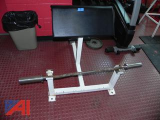 (#7) Free Weight Preacher Curl Bench with Bar