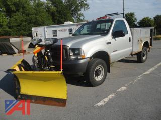 2003 Ford F350 XL Super Duty Utility Pickup Truck with Plow and Lift Gate