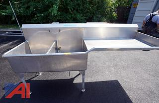 8' S/S 2 Bay Cove Sink with Drain Board/HS