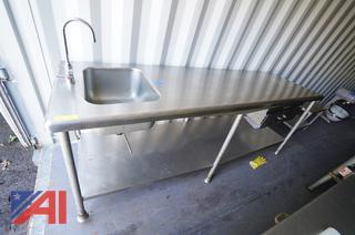 8' Heavy Duty Sink/Work Table/HS