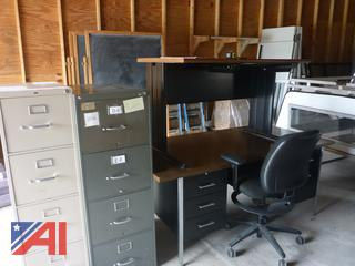 (#1613) Metal Office Desk, File Cabinets and Office Chair