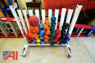 York Barbell Stand & Barbells