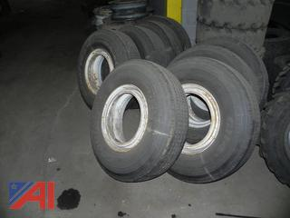 10R17.5 Goodyear Tires & Rims from a Lowboy Trailer