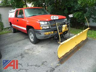 2004 Chevy Silverado 1500 Pickup Truck with Cap and Plow