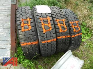 (#5) Bridgestone 12R22.5 Tires with Rims