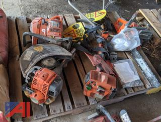 Pallet of Assorted Chain Saws and Weed Wackers