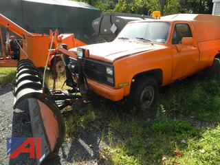 (#28) 1984 Chevy D30 Pickup Truck with Cap and Plow