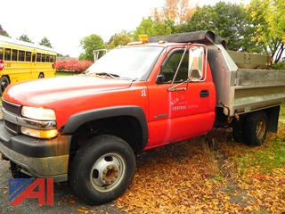 (T-31) 2002 Chevy Silverado 3500 Stainless Steel Dump Truck with Stainless Steel Sander