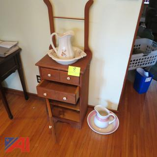 Wash Stand with Pitcher and Bowls