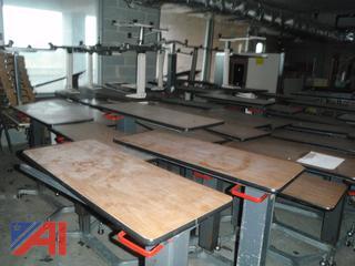(#66) Adjustable Hospital Feeding Tables On Wheels