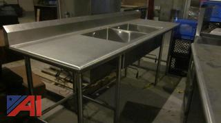 Stainless Steel Worktable with 2 Sinks