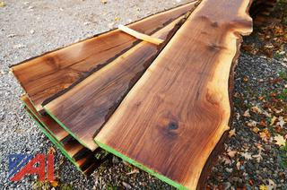 Banded Lift of Air Dried Live Edge Walnut Slabs/Lumber