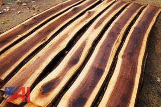 Banded Lift of Air Dried Live Edge Walnut Craft Slabs