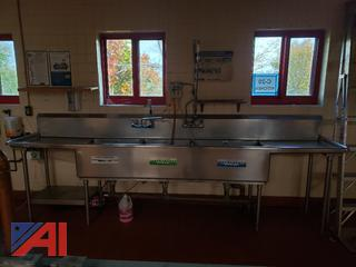 (#20) 3 Bay Stainless Sink and Stainless Steel Prep Table
