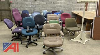 Various Office Chairs & Coat Rack